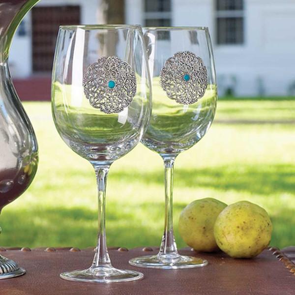 Silverhorn Concho Wine Glass King Ranch Saddle Shop
