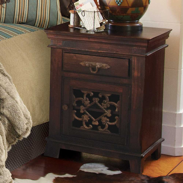 rustic side table and bedroom nightstand