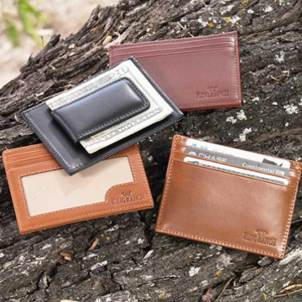 leather cash clip and leather wallet