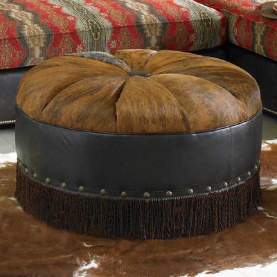 Hair on Hide Round Ottoman