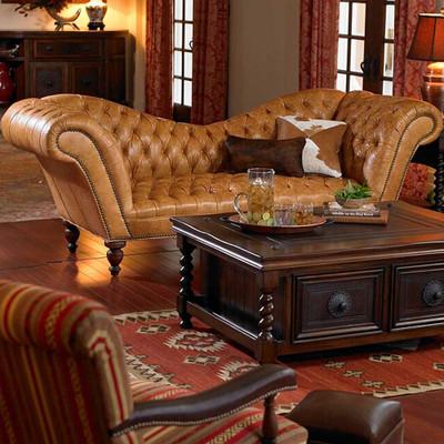 Tan Recamier Sofa