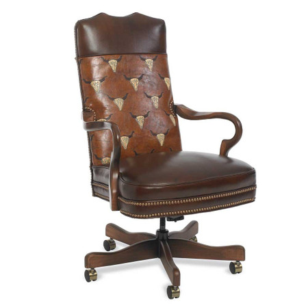 brown leather executive rolling office chair