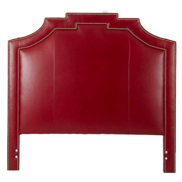 red leather headboard with studs