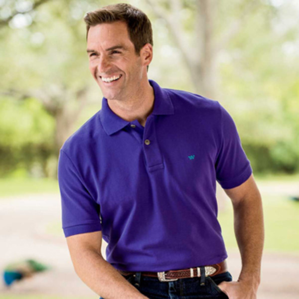 Purple Rancher's Polo Shirt Model