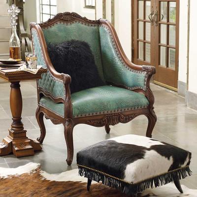 Turquoise Croco Chair