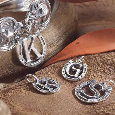 alphabet silver western charm