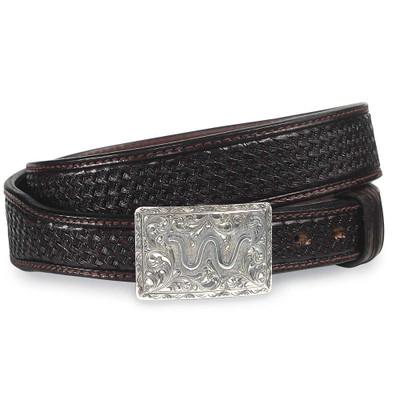 Basketweave Brown Leather Belt