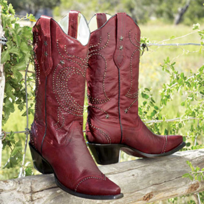 Red Heart Studded Boots
