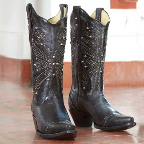 Black Studded Butterfly Boots