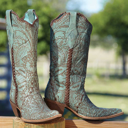 Turquoise Lace Boots