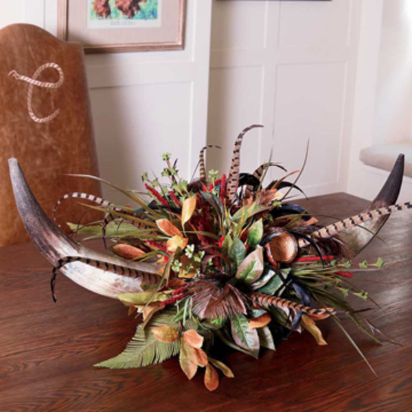 Red yarrow double horn centerpiece king ranch saddle shop