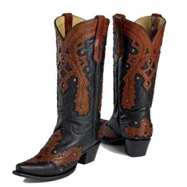 black brown stud overlay boot king ranch saddle shop