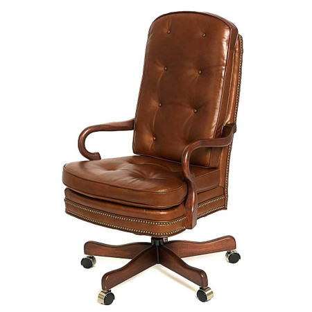 Tufted Leather Gooseneck Chair