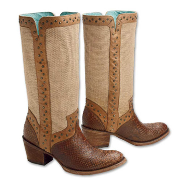 Jute and Python Boots