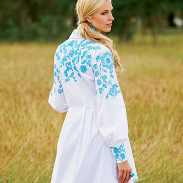 Embroidered Fit and Flare Shirt