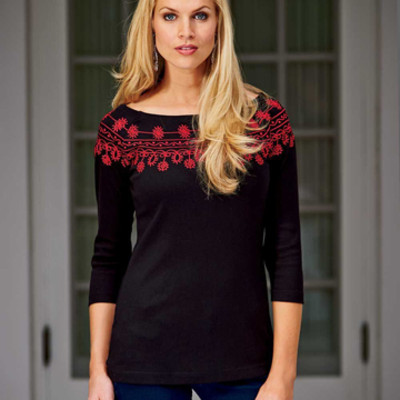 Enticing Embroidered Tee