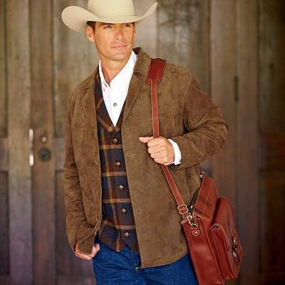 Men's Leather Barn Coat