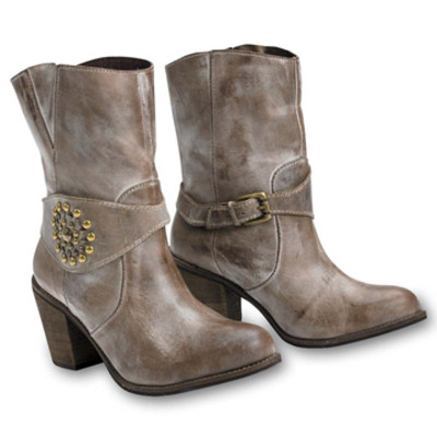 Taupe Studded Harness Boot