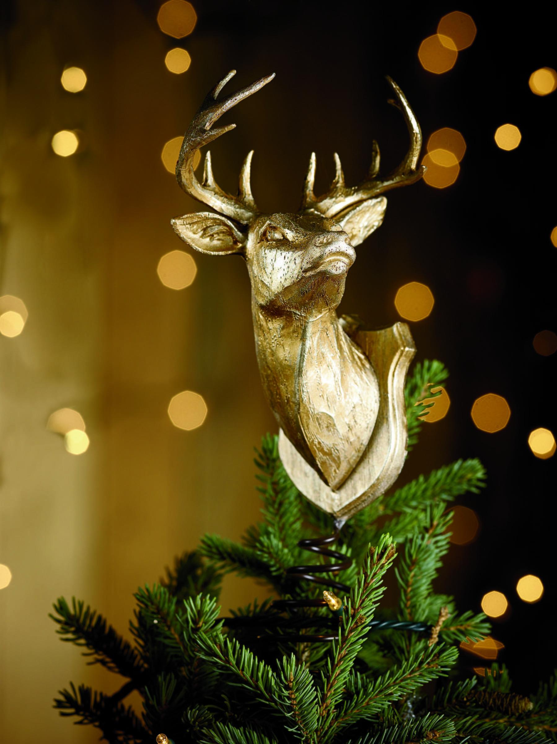 Deer Head Tree Topper With Deer Horn Christmas Tree Topper