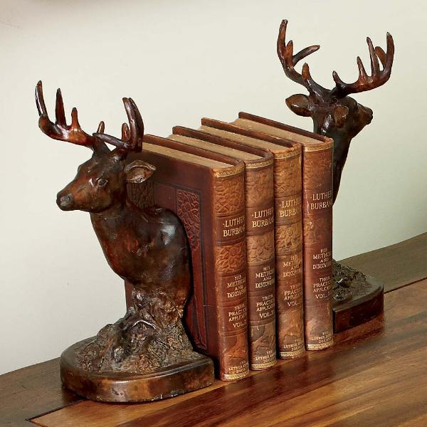 Wooden Deer Bookends