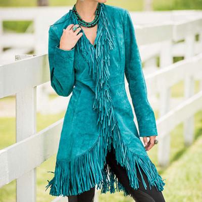 Turquoise Fringe Suede Coat