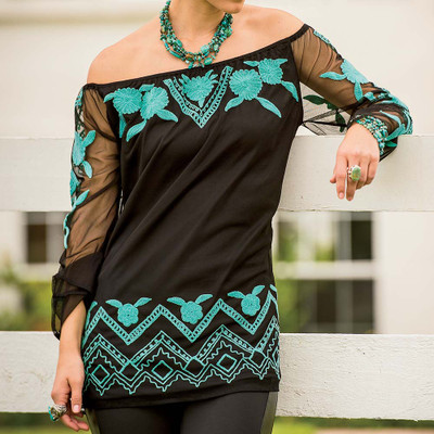 Black and Turquoise Tunic