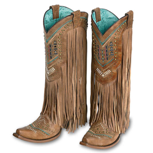 Tan and Multicolor Fringe Boot