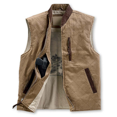 QUILTED ZIP VEST-TAN