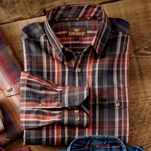 Navy/Taupe Plaid Shirt