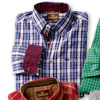 Navy/Burgundy Plaid Shirt