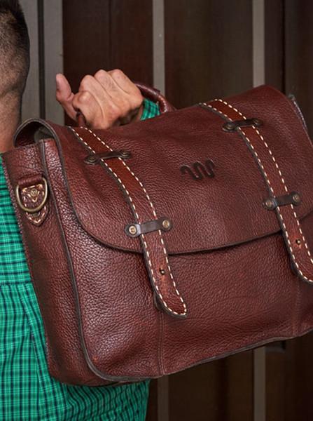 Saddle Stitch Leather Messenger Bag