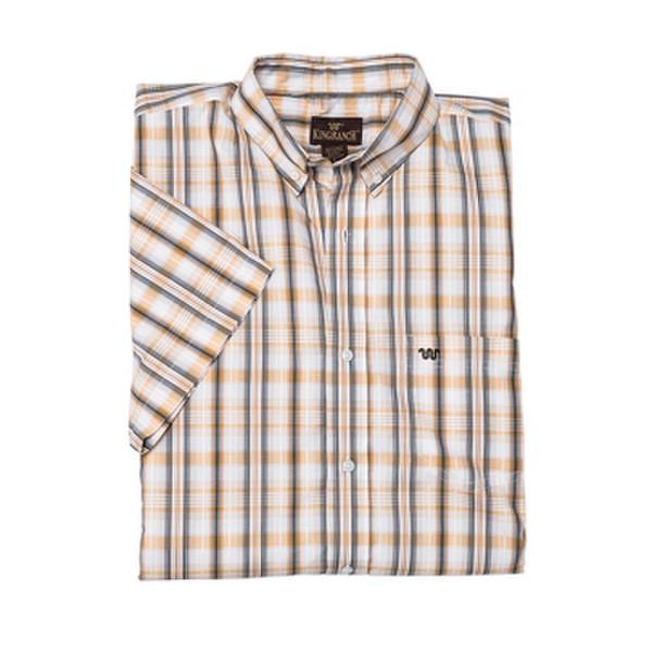 Men's Button Shirt Plaid Cream/Gray