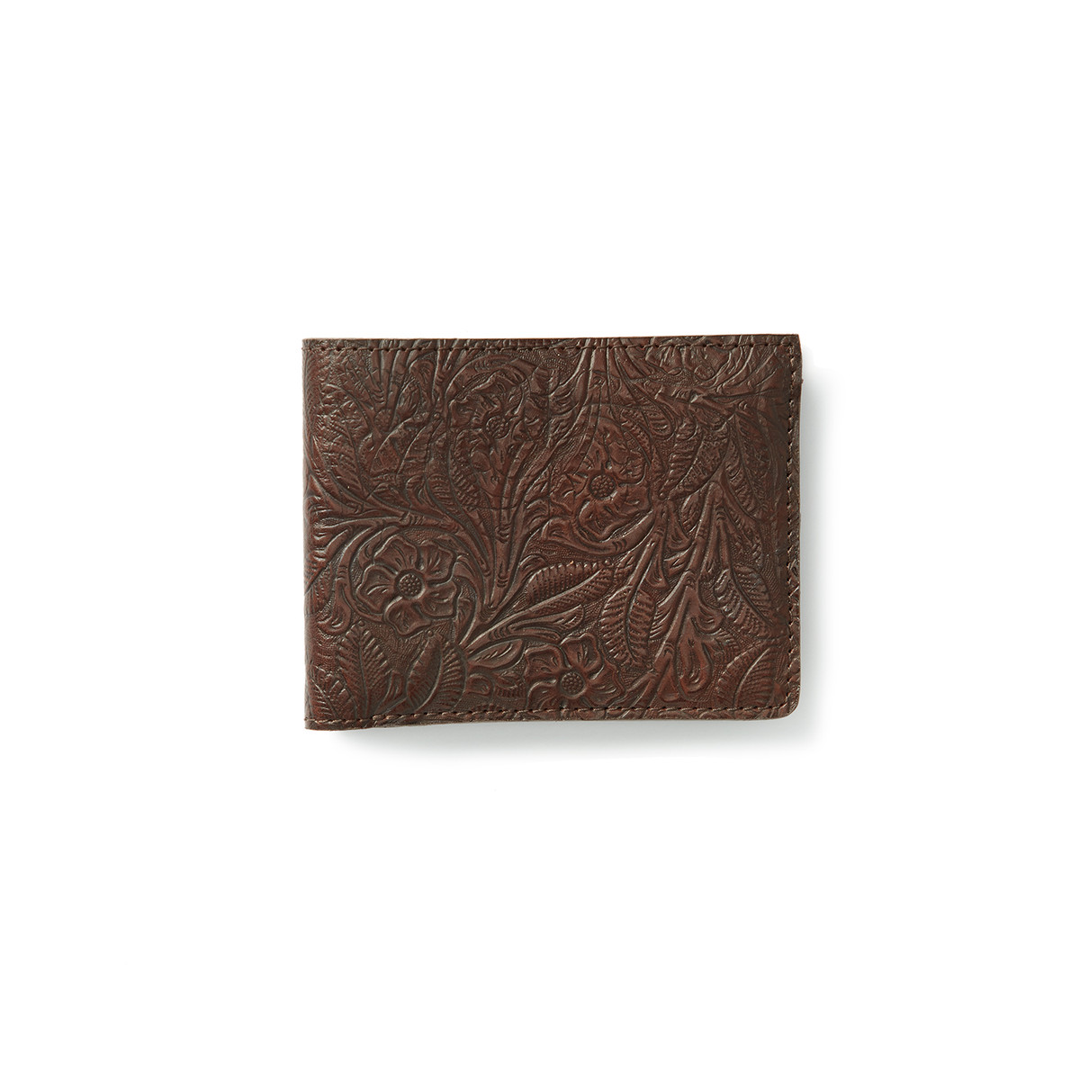 Hand tooled bi-fold leather wallet featuring four card pockets, transparent ID slot, and main pouch for plenty of cash