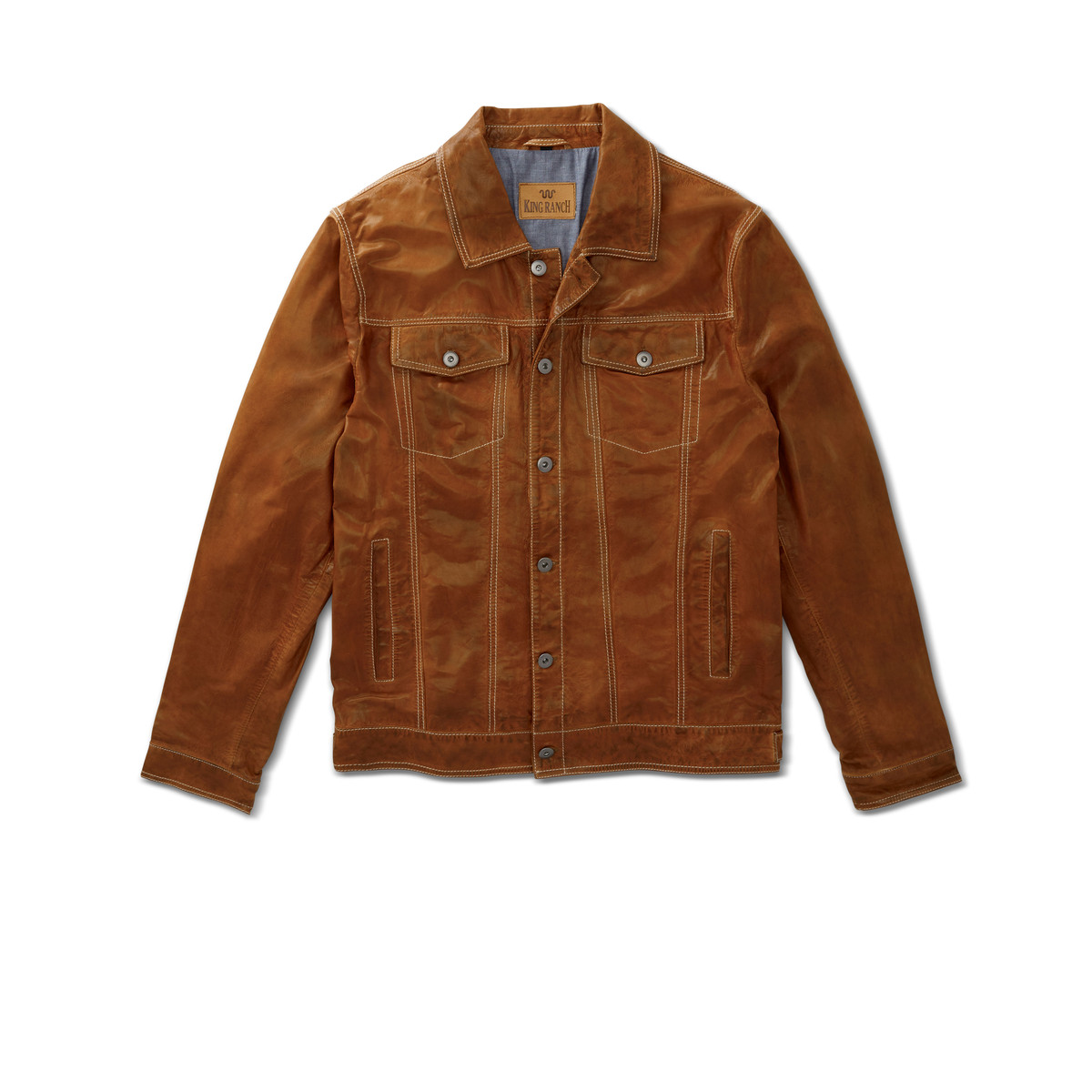 KING RANCH LEATHER JEAN JACKET