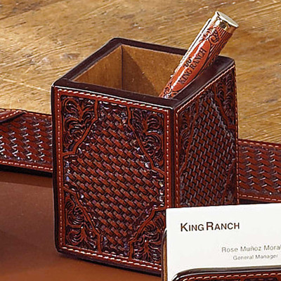 Tooled Leather Pencil Holder