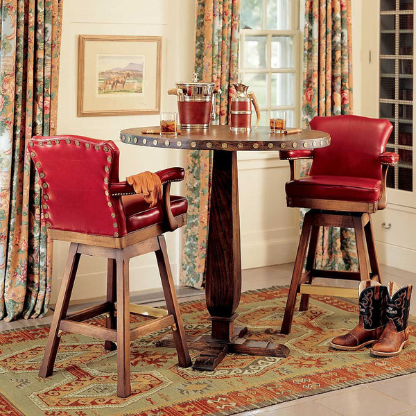 red leather tall bar stools