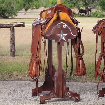 western horse saddle stand