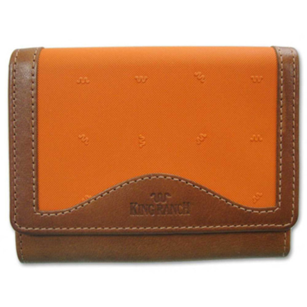 Orange Ladies Tri Fold Clutch Wallet