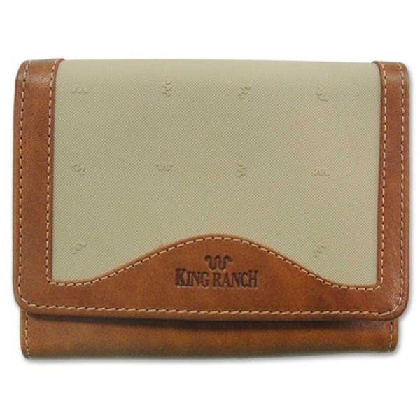 Tan Ladies Tri Fold Clutch Wallet