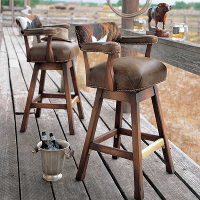 tall hide and leather rustic stool