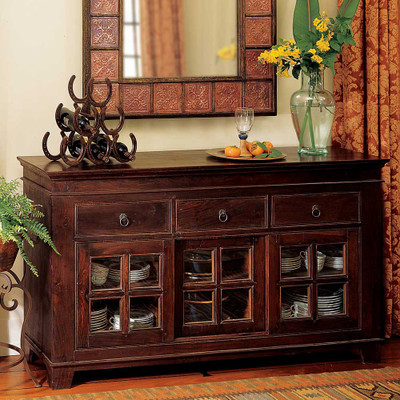 rustic console table with drawers and glass storage